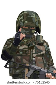 An armed fighter of a special unit in protective camouflage suits