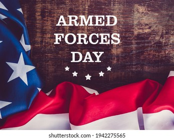 Armed Forces Day. Beautiful greeting card. Close-up, view from above. National holiday concept. Congratulations for family, relatives, friends and colleagues