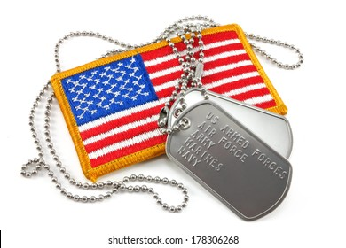 Armed forces dog tags and American Flag