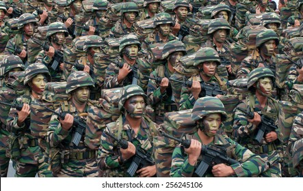 Armed forces during 57th Celebrations, Malaysian Independence Day Parade on August 31, 2014 in Kuala Lumpur, Malaysia.
