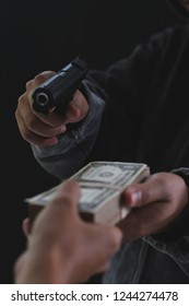 Armed robbers used the gun to robbery the money, Uses Gun in Armed Robbery, Armed robbers, used for the illustration or montage of your design, Banner for advertise of product