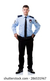 Armed security guard posing isolated on white background.