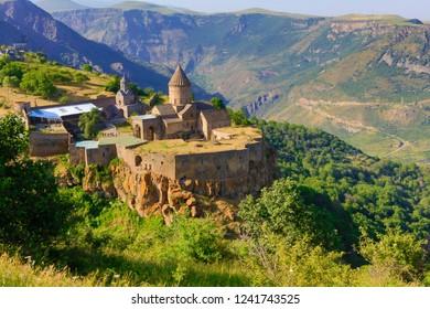 Armenia ancient monastery Tatev in summer sunny day