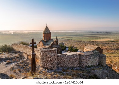 Armenia, Ararat valley, Khor Virap monastery near the border with Turkey and mount Ararat