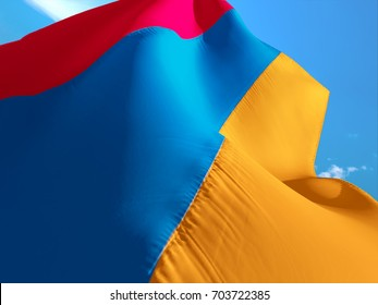 Armenia flag. 3D Waving flag design. Red, blue and orange flag.The national symbol of Armenia. Armenian National colors. National sign of Armenia for a background flag on smooth silk