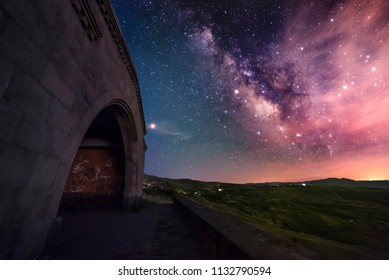 Armenia, Garni  Сharenc arch view of the Milky Way.