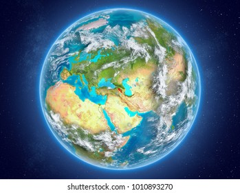 Armenia in red on model of planet Earth with clouds and atmosphere in space. 3D illustration. Elements of this image furnished by NASA.