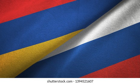 Armenia and Russia two flags textile cloth, fabric texture
