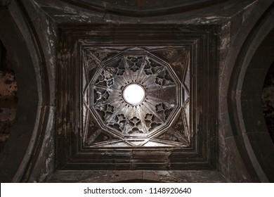 Armenia Sagmosavank 17 May 2018: The dome of the temple in the monastery of Sagmosavank