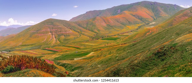 Armenia. Stunning landscape from the border of Lori and Aragatsotn regions.  Colorful fields and meadow, mountains and hills of Armenia. Visit Armenia and travel toward north.
