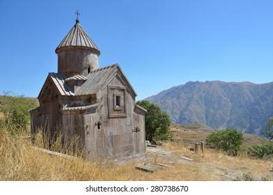 Armenia, Tsahats-kar monastery in mountains, the church of 10 century