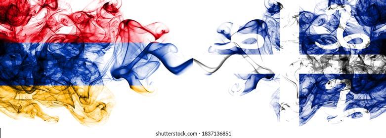 Armenia vs France, French, Martinique smoky mystic flags placed side by side. Thick colored silky abstract smoke flags