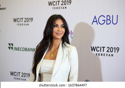ARMENIA, YEREVAN: 08 October 2019 US Reality TV star Kim Kardashian poses for a photo as she arrives at World Congress On Information Technology (WCIT)