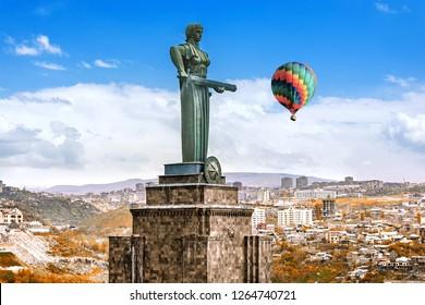 Armenia, Yerevan,24 april 2017 :  Mother Armenia, monumental statue in Victory Park. Armenia, Yerevan