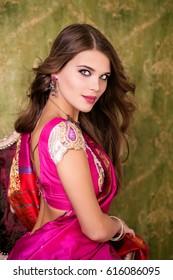 Armenian beauty. Close up portrait of beautiful woman in red sari