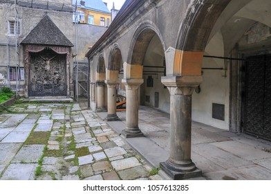 The Armenian Cathedral of the Assumption of Mary courtyard in Lvov, Ukraine.