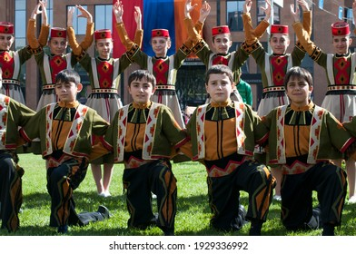 Armenian children dancers, Yerevan, Armenia, October 2012: A group of children dressed in traditional Armenian dance costumes wait to start their performance during Yerevan´s anniversary celebrations.