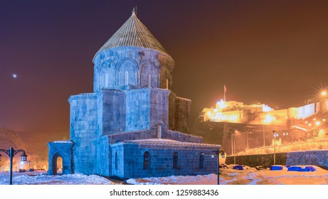 The Armenian Church against Kars citadel at night - Kars, Turkey