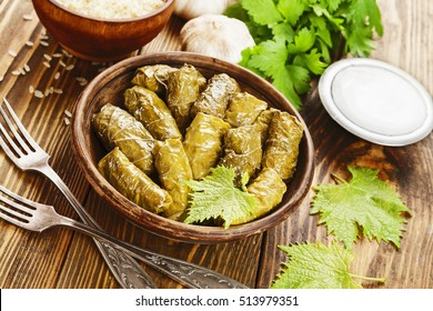 Armenian dolma from vine leaves and minced meat