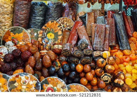 armenian dried sweet fruits sudzhuk churchkhela alani close up