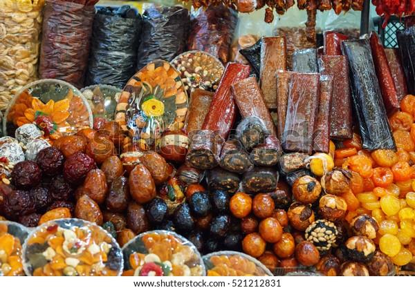 armenian dried sweet fruits sudzhuk churchkhela alani close up