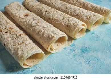 Armenian flat bread lavash. Traditional wheat bread