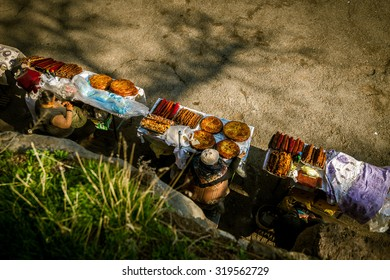 Armenian national pies in sale market near Geghard monastery, Armenia