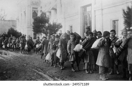 Armenian orphans being deported from Turkey. Ca. 1920.
