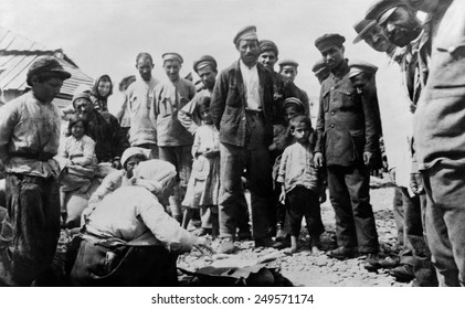 Armenian refugees on Black Sea beach at Novorossiysk. 1920. Turkish vs. Armenians conflict continued after WW1, ending in 1921, with the Treaty of Kars between Bolshevik Russia and Turkey.