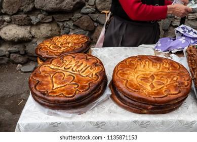 Armenian round gata cakes