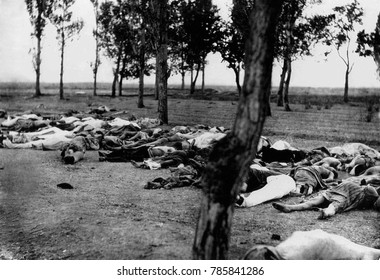 Armenians killed during the Armenian Genocide. Massacre, starvation, and exhaustion destroyed the larger part of the Armenian refugees in 1915. Turkish policy was that of extermination under the guise