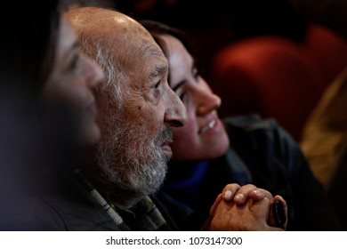 Armenian-Turkish photojournalist, Ara Guler talks with people after his speech in Istanbul, Turkey on Oct. 22, 2015