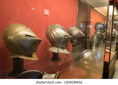 Armet helmets at the Palace Armoury. Grandmaster's Palace in Valletta, Malta. 13 March 2018