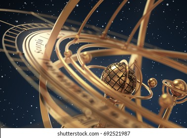 Armillary Sphere On Blue Background. 3D Illustration.