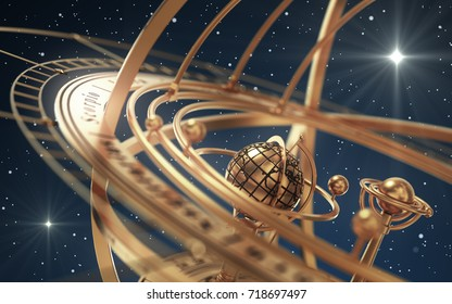 Armillary Sphere And Stars On Blue Background. 3D Illustration.