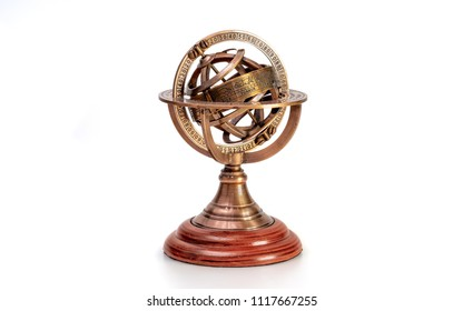 Armillary Zodiac Sundial On White Background