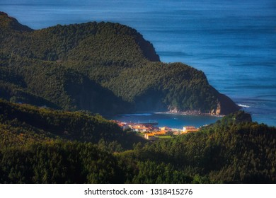 Armintza village in the Basque Country from Jata mountain