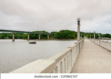 "The Armistice Bridge (""The Footbridge"") across the Passagassawakeag River (aka the Passy) in Belfast, Maine is a popular feature of the town's Harbor Walk and In-Town Nature Trail."