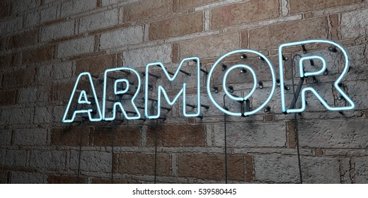 ARMOR - Glowing Neon Sign on stonework wall - 3D rendered royalty free stock illustration.  Can be used for online banner ads and direct mailers.