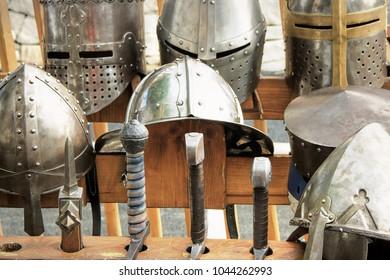 Armor knight Medieval, helmets and swords.
