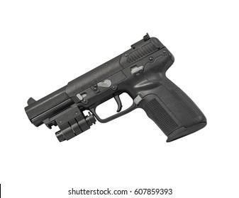 Armor Piercing Pistol Isolated on White Background Left