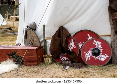 Armor and shields by viking camp