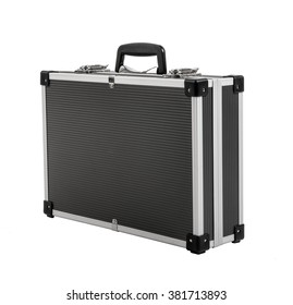 armored black case for money, on white background; isolated