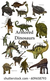 Armored Dinosaurs 3d illustration - A collection of various armored dinosaurs from different prehistoric periods of Earth's history.