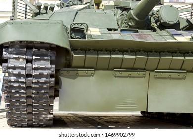 Armored fighting combat vehicle. Close-up combat military equipment.