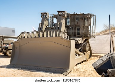 Armored military bulldozer presented on military show