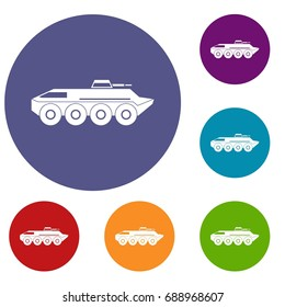 Armored personnel carrier icons set in flat circle reb, blue and green color for web
