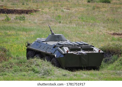 Armored personnel carrier infantry fighting vehicle. Military background with copyspace.