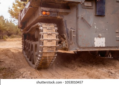An armoured tracked military vehicle close-up