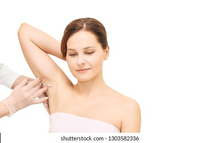 Armpit anti hyperhidrosis treatment. Cosmetic injecting procedure. Clinic cosmetology sweat therapy. Beuty young woman. Girl skin care.